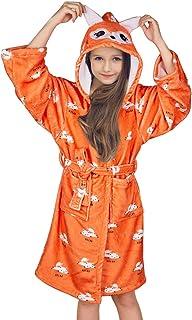 FIOBEE Kids Robe Flannel Bathrobe Fleece Bathrobe Hooded Sleepwear for Girls Party