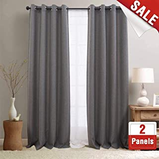 jinchan Blackout Curtains for Bedroom Linen Textured Window Curtain Panels for Living Room Darkening Drapes Grommet Top (One Panel, L 84