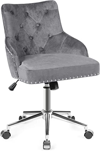 new arrival Giantex Modern Home Office Chair, Tufted Velvet Swivel Armchair with lowest Nailhead Trim, Mid-Back Velvet Office Chair with Upholstered online seat, Adjustable Task Chair Computer Desk Chair (Gray) online sale