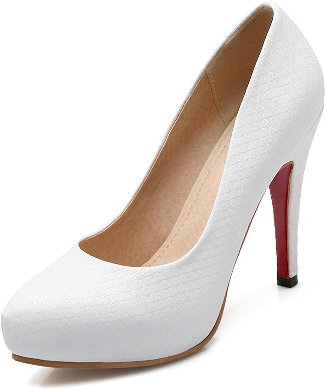 Lucksender Womens Platform Round Toe High Heel Pumps shoes