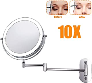Makeup Mirror Wall Mounted Makeup Mirror Led 10x Magnification, 8 Inch Round Wall Mount Vanity Mirror Double Sided Swivel USB Rechargeable with Dimmable Lights, Chrome Finish
