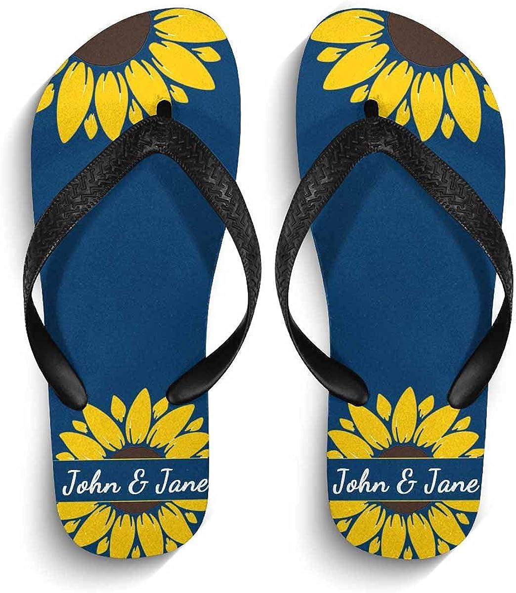 Custom Text Flip Flop Half Flower Personalized Name Sandal for Men Women S-XL