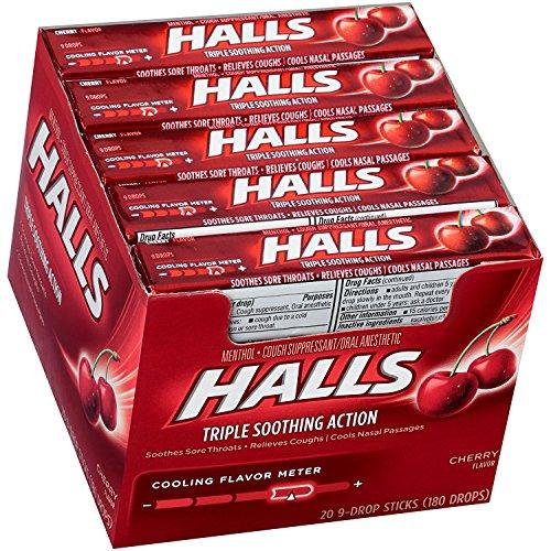 Halls Cherry Cough Drops - with Menthol - 180 Drops (20 sticks of 9 drops)