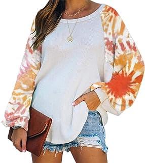 Miracle Women Tie Dye Printed Lantern Sleeve Sweatshirt Long Sleeve Pullover T-Shirts