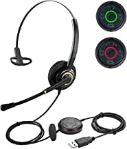 USB Headset with Microphone Noise Cancelling and Volume Controls, Computer PC Headset with Voice Recognition Mic for Drago...