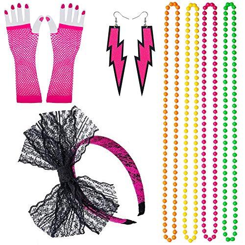 REYOK 80s Disfraz de Disfraces para Mujeres niñas Adultos 80 Vestidos para Mujeres, Accesorios de Fiesta, neón con relámpago Aros Venda Malla Guantes Cuentas Collar 1980 Fiesta Disfraz