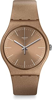 Swatch Women's Quartz Watch, Analog Display and Silicone Strap SUOM111, Brown
