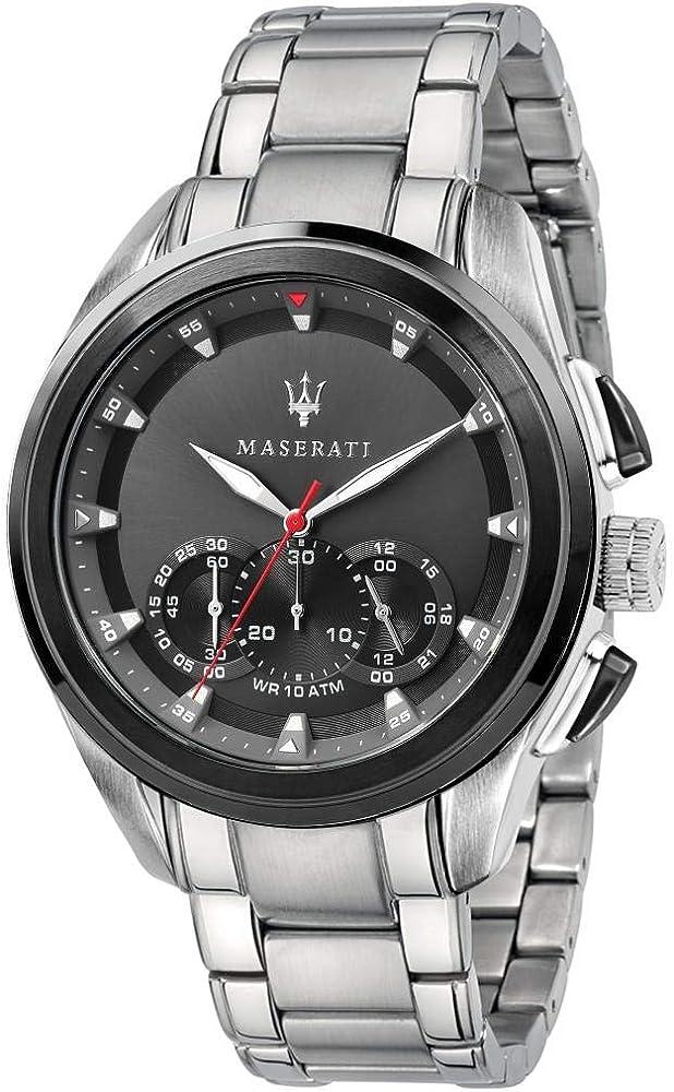Maserati orologio cronografo da uomo, collezione traguardo in acciaio 8033288880417