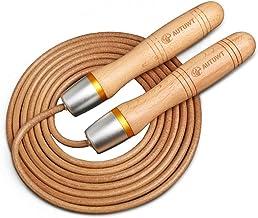AUTUWT lederen springtouw 3 meter verstelbaar, 360 ° kogellager en puur hout handgrepen springtouw voor Gym & Home Fitness...