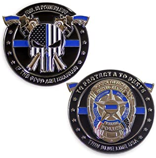 Thin Blue Line Challenge Coin Evil is Powerless