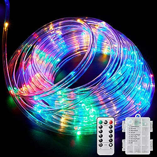 Ollivage LED Rope Lights Outdoor String Lights Battery Powered with Remote Control, 8 Modes Color Changing Waterproof...