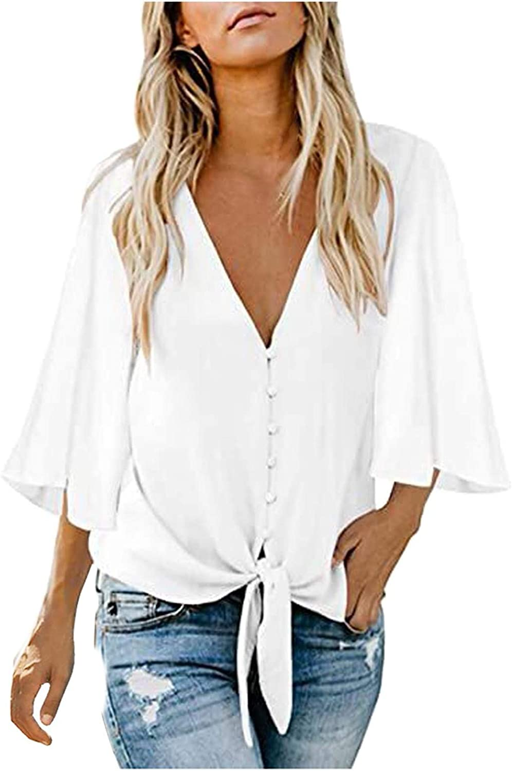 HGps8w Women's Casual 3/4 Sleeve V Neck Tie Knot Solid Color Button Down Loose Tops Blouses Shirt