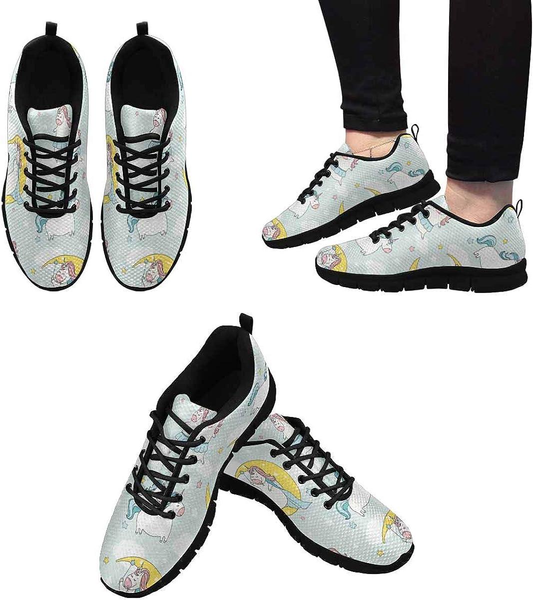 INTERESTPRINT Cartoon Cute Unicorn Women's Athletic Walking Shoes Casual Mesh Comfortable Work Sneakers