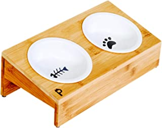 Pawmosa Elevated Bamboo Pet Table with Duo Ceramic Bowls. Raised/Anti-Slip Tilted Station for Cats and Dogs Food/Drink. Water-Resistant Surface for Comfort Clean Feeding and Good Digestion for Pets