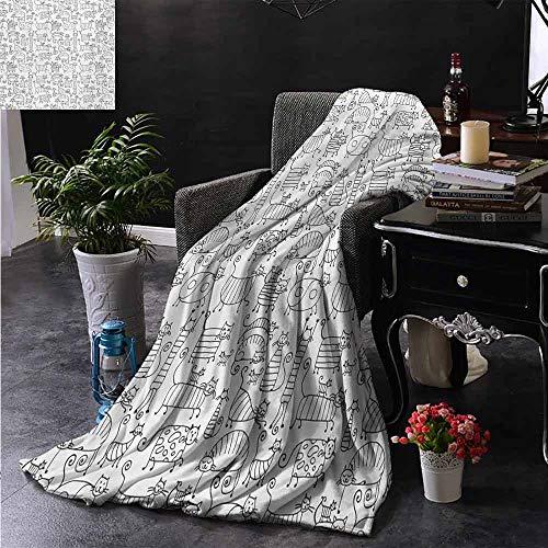 ZSUO Digital Printing Deken Crowded Urban Life Depiction in een eenvoudige zwart-wit tekening grote gebouwen zachte zomer koelen lichtgewicht bed deken