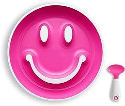 Munchkin Smile 'n Scoop Set de cuchara y plato con ventosa, rosa