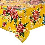 FANMEX - Fantastik - Mantel de Hule para Mesa (120 cm Ancho - Largo por Medio Metros) Modelo Hibisco Amarillo