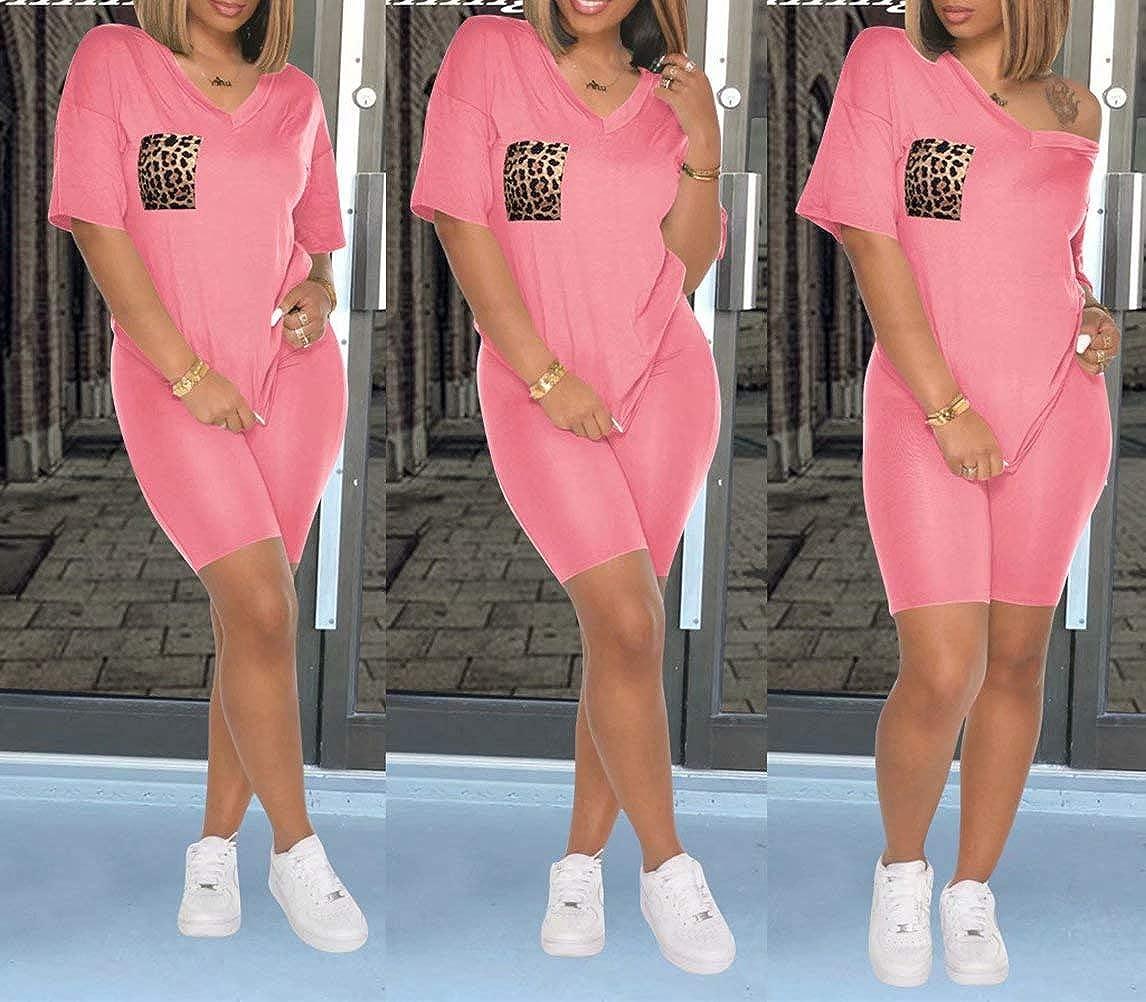 Women's Casual Loungewear Set Two Piece Outfits V Neck Leopard Pockets Sweatshirt Skinny Shorts Set Sweatsuit Tracksuit