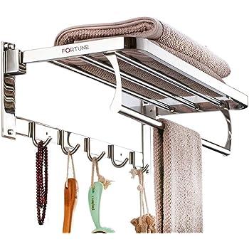 Fortune Luxurious Stainless Steel Folding Towel Rack | Towel Stand | Towel Hanger | Towel Holder | Rack Shelf | Bathroom Accessories (Square) - (18 inch)