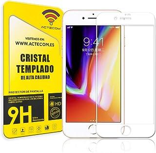 176d1f4ebda ACTECOM® Protector Pantalla Completa 3D 5D Blanco Cristal Templado iPhone 8  Plus