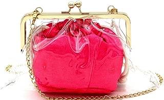 Stadium Neon Color Inner Bag 2 in 1 Kiss-lock Frame Clear Clutch Crossbody Purse Shoulder Bag