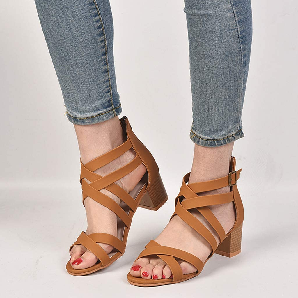 Chaussures Femme/—Sandales /à Talon,Escarpins Sandale Pas Cher Ete Chaussure Cuir,Hauts Talon Carr/é 5~8Cm avec Sangle Transversale,Grande Taille Bout Rond Ouvert Leisure Chaussures De Plage Femme