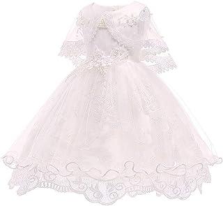 KINDOYO Newborn Girls Ruffle Tutu Christening Dresses - Shawl Kids Flower Princess Wedding Dress Photo Shoot Ball Gown, Beige, 18M