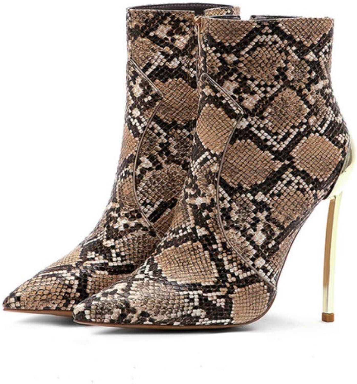 Braune Damen Stiefeletten Damen High Heels Schuhe Metalldekoration Martin Stiefel Sexy Chelsea Stiefel