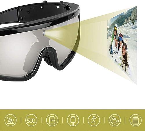HUOFEIKE 500W caméra vidéo Lunettes de Soleil, Mini caméra 1080p vidéo Externe TF voiturete Lunettes de Soleil, Convient pour Le Ski activités de Plein air (Noir)
