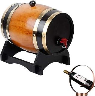 ZGQJT Tonneau De Vin, 3L Seau De Vieillissement De Chêne avec Support De Vin for Stocker Les Liqueurs De Whisky De Vin (Co...