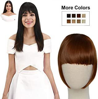 REECHO Fashion Full Length Synthetic 1 Piece Layered Clip in Hair Bangs Hairpieces Fringe Hair Extensions Color - Chestnut Brown