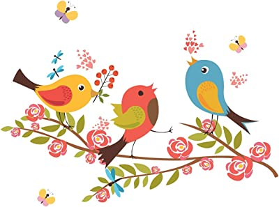 Wallzone Love Birds Medium Vinyl Wallsticker (80 cm x 60 cm)