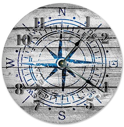 Holz Grau Blau Windrose Kompass Uhr, Navigationsuhr, Wohnzimmer Uhr, Große Holz Wanduhr, Home Decor Uhr für Büro, Schule, Zuhause, Wohnzimmer, WC, Küche, Schlafzimmer Dekor Uhr 30,5 cm