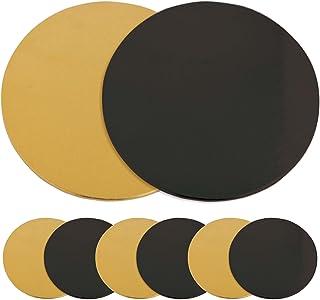 SCRAP COOKING 5201 Kit de 6 Supports à Gâteaux Ronds-Carton Réversible Doré & Noir-Disque Diamètre 24cm-Ustensile Pâtisser...