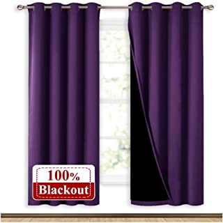 NICETOWN Living Room Completely Shaded Draperies, Privacy Protection & Noise Reducing Ring Top Drapes, Black Lined Insulated Window Treatment Curtain Panels(Royal Purple, 2 Pieces, W52 x L72)