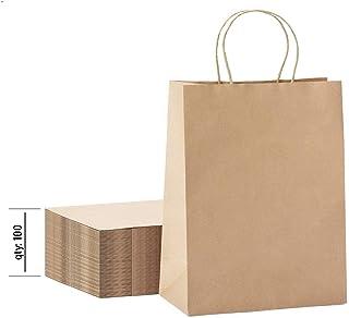 [100 Pack] Heavy Duty 10x13 Kraft Paper Bags 100 pc 10x5x13 Kraft Paper Bags Brown Paper Bags Brown Gift Bags Kraft Shoppi...