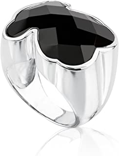TOUS Color 925 Silver Ring with Black Onyx Bear