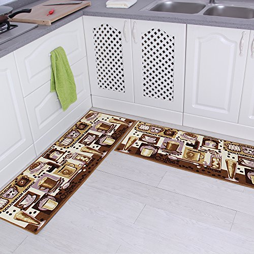 "Carvapet 2 Piece Non-Slip Kitchen Mat Rubber Backing Doormat Runner Rug Set, Coffee Design (Brown 15""x47"")"