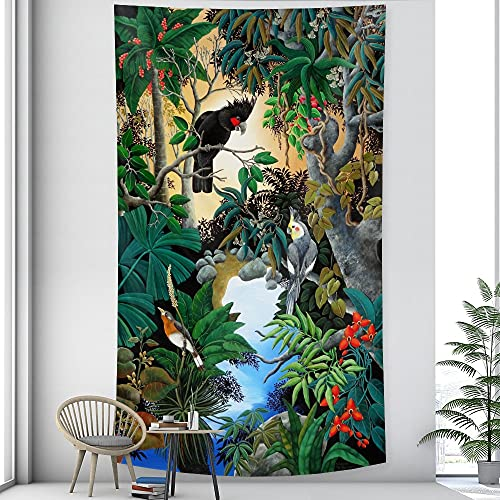 Hermosa planta tropical tapiz colgante de pared hoja de palma patrón floral tapiz bohemio manta tela colgante A4 130x150cm