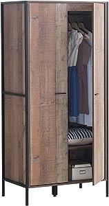 Timber Art Design Stretton Urban Double Wardrobe with 2 Doors Rustic Industrial Oak Effect Bedroom Furniture