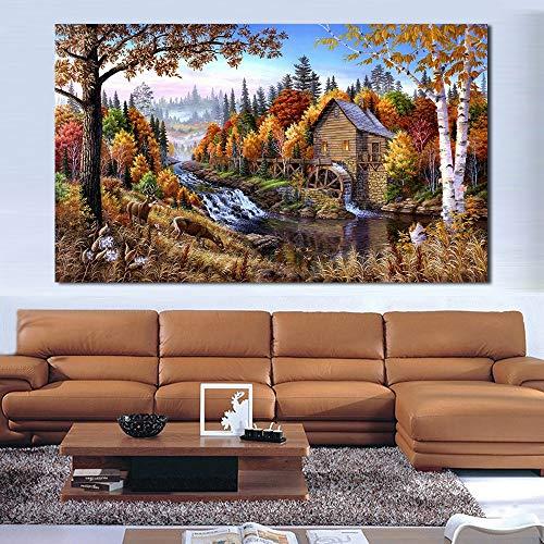 Landschap in La Forêt Cabines olieverfschilderij, doek, kunst, decoratie voor thuis, wand, foto, voor de woonkamer, modern, zonder lijst, foto 16X28