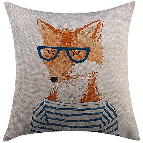 Kussensloop Home Decoratieve Kussensloop Moderne Hipster Vrouw Vos met Bril en Gestreept Shirt Humor Karakter Dier Blauw Oranje Wit Kussensloop 45X45cm