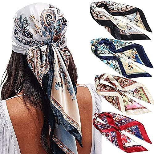 WELROG 90x90cm Große quadratische Fleckschals für Damen 4 PCs Frauen Seidig wie Kopftuch Bandanas Haarschal Halstuc Schlafringe (Set #8)