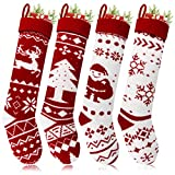 Aitey Knit Christmas Stockings, 18 inches Large Family Christmas Stockings Set of 4 Character Santa, Reindeer, Tree and Snowflake Rustic Knitted Stocking for Kids Xmas Decorations
