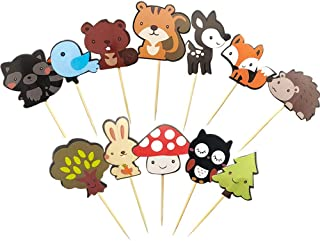 Kapoklife 1 11 36-Pack Cute Creatures Cupcake Picks, Animal Friends Toppers, Kids Woodland Theme Baby Shower Birthday Party Cake Decor, 1