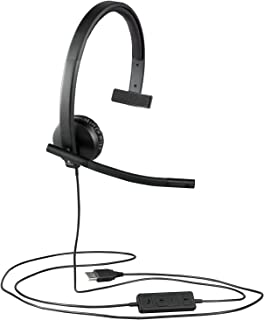 Logitech H570e Wired Headset, Mono Headphones with Noise-Cancelling Microphone, USB, In-Line Controls with Mute Button, In...
