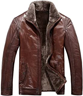 Cwmalls Men's Shearling Leather Bomber Jacket Brown Plus Size CW819064