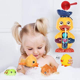 JoyGrow Baby Bath Toys Cute Duck Waterfall and 2PCS Float Squirt Sound Toys 2PCS Wind up Toys Bathtub Shower Toys with Wal...