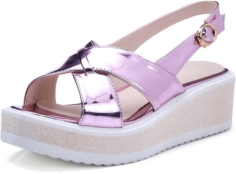 AmoonyFashion Women's Microfiber Solid Buckle Open Toe Kitten Heels Sandals