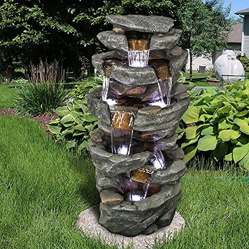 WATURE Entspannender Wasserbrunnen im Freien – 103CM 6-Tier-Brunnen im Freien mit 6 LED-Leuchten, Stein-Liking naturaussehenden Harz Wasserfall Brunnen für Patio, Garten, Haus&Büro